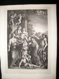 After Annibale Carracci C1840 LG Folio. Madonna enthroned with St. Matthew